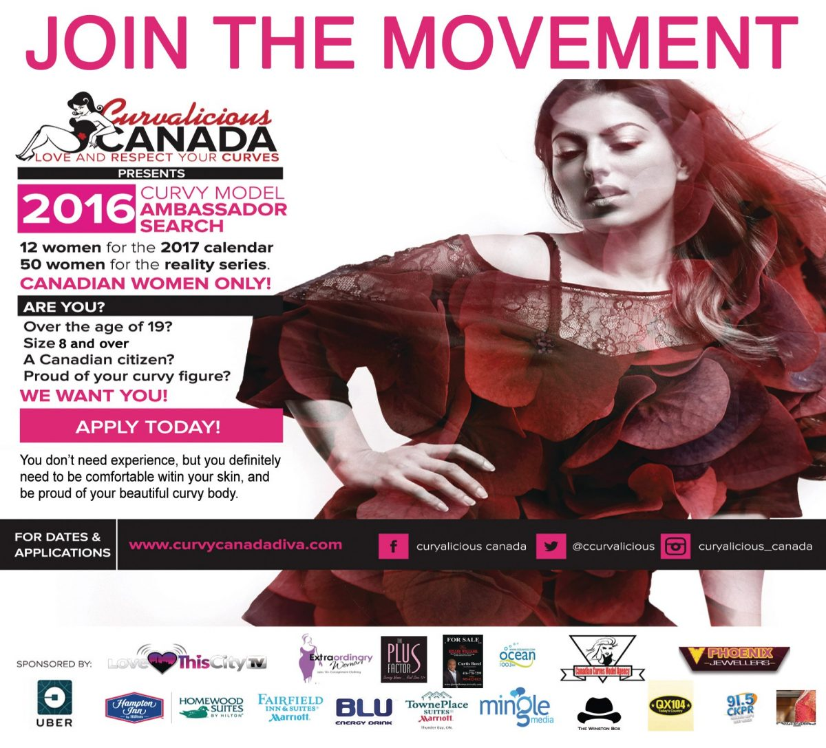 JOIN THE MOVEMENT - Curvalicious Canada www.curvycanadadiva.com is an organization where plus-size people can find a place to be themselves and meet like-minded people. We invite you to connect with us and get involved in our various events. Come to relax, party, meet new friends and be yourself without being judged. (CNW Group/Curvalicious Canada)